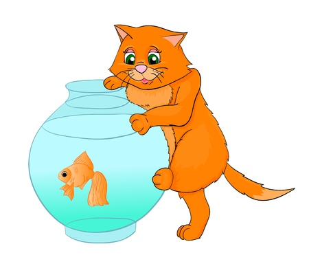 cat fish: kat cartoon with isolation on a white background Illustration