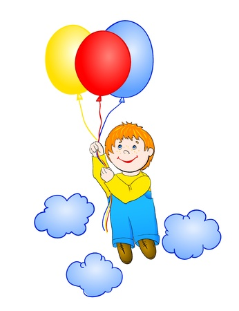 Boy flying a hot air balloon, with isolation on a white background Vector