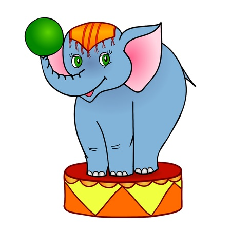 performing arts event: cartoon elephant circus, with isolation on a white background
