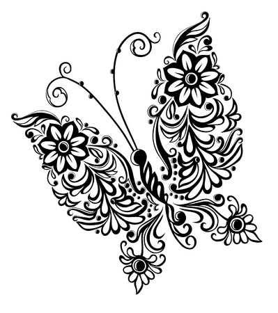 dessin noir blanc: peinture papillon, �l�ment de conception abstraite tourbillon
