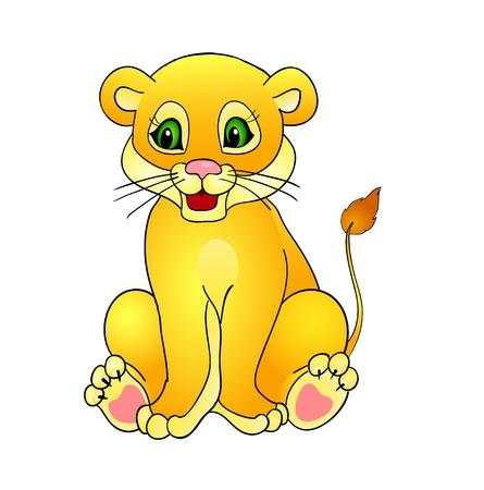 cachorro: león de la historieta, con el aislamiento en un fondo blanco