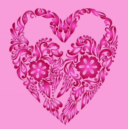 heart pattern floral, love background Vector
