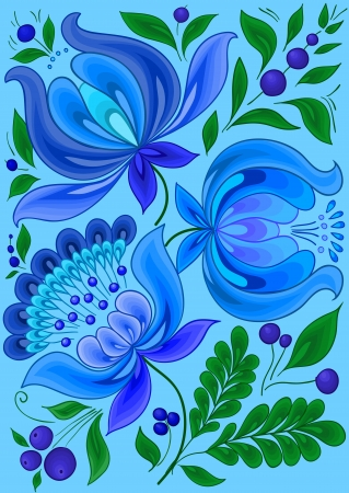floral scroll: hand-drawn floral background with flowers cool colors  design illustration, Illustration