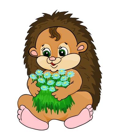 hedgehog: cartoon hedgehog, with isolation on a white background