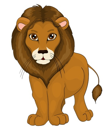 cruel: cartoon lion, with isolation on a white background