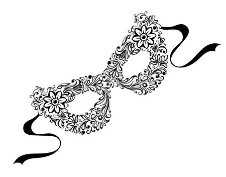 teatro mascara: Ilustraciones de m�scaras silueta, como el patr�n de flores y adornos