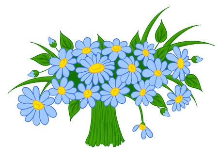 cut flowers: animated cartoon bouquet of daisies, with isolation on a white background Illustration
