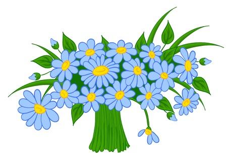 flor caricatura: ramo de dibujos animados de margaritas, con aislamiento en un fondo blanco Vectores