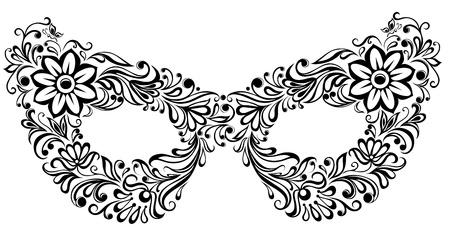 mascaras teatro: Ilustraciones de m�scaras silueta, como el patr�n de flores y adornos