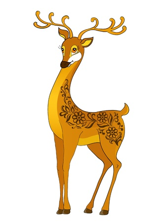 deer cartoon, with floral abstract Иллюстрация