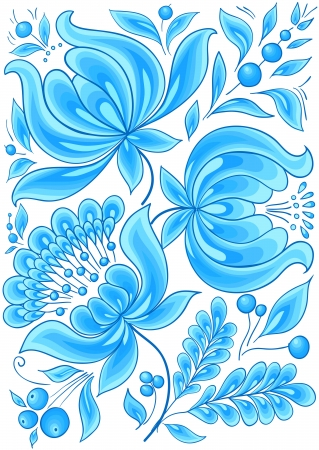 hand-drawn floral background with flowers cool colors  design illustration, Stock Vector - 16297807