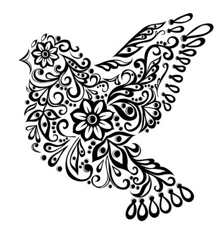 bird: 흰 손 그리기에 고립 된 추상 조류, 일러스트