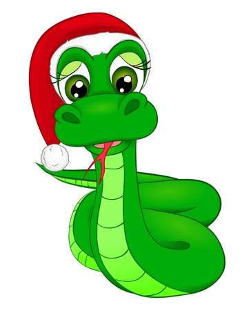 snake cartoon in Winter Hat, the symbol of 2013 Vector
