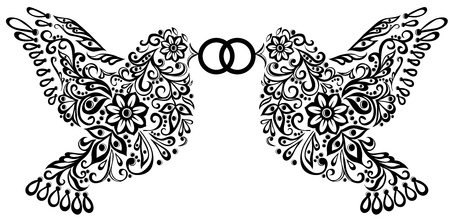 wedding clipart, silhouette of two birds that keep the ring Vectores