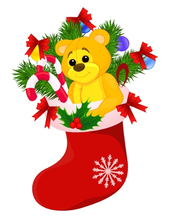 bear berry: Christmas red sock with gifts, isolated on white background Illustration