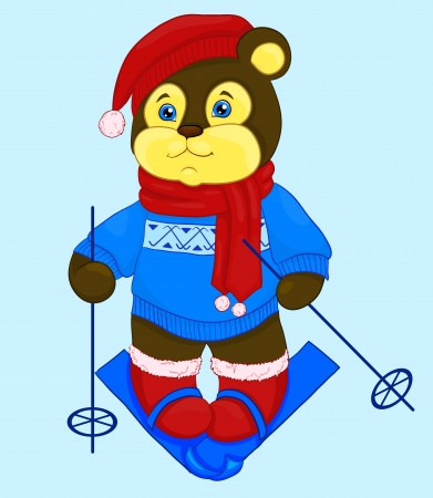 cartoon bear in a cap and a sweater, ski Vector