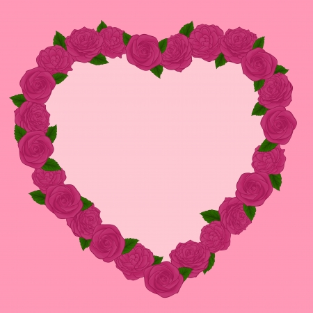 Beautiful frame of pink roses in a heart Vector