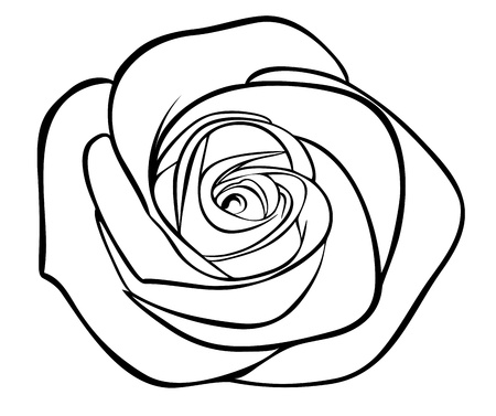 rose tattoo: black silhouette outline rose, isolated on white Illustration
