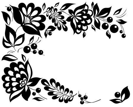 black-and-white flowers and leaves Floral design element in retro style