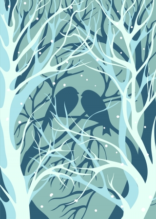 three-dimensional image  Silhouettes pair of lovers of birds sitting on the bare winter trees in snowy weather Vector