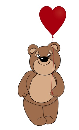 stuffed animals: cute brown teddy bear holding a balloon in the form of red heart