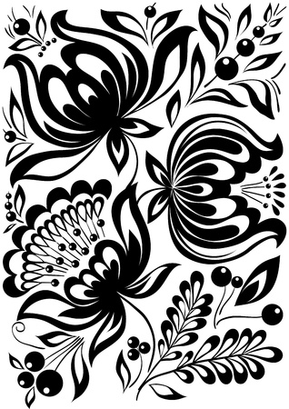 abstract black and white flowers. Stylish retro ornament. design element Ilustração