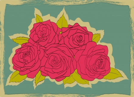 frayed: Vintage card with frayed edges. Bouquet of pink roses with leaves on a blue background
