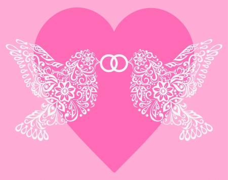 Silhouette of two white birds that hold the ring against pink hearts,Postcard to the Valentines Day, Mothers Day or a wedding Vector