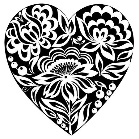 dessin coeur: silhouette du c?ur et des fleurs sur elle. Image en noir et blanc. Ancien