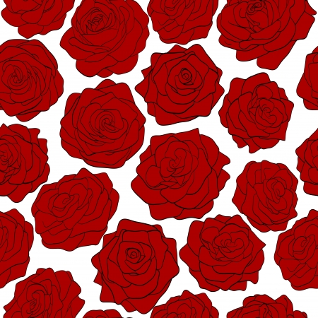seamless pattern of red roses on a white background Stock Vector - 17218639