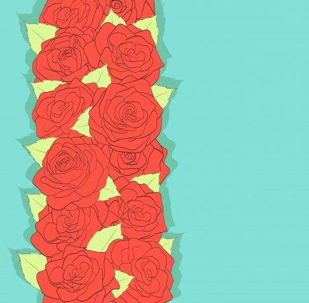 background in retro style. Using the old colors. Red roses and green leaves. antiquity Stock Vector - 17218680