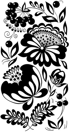 black-and-white flowers, leaves and berries. Background painted in the old style Vector