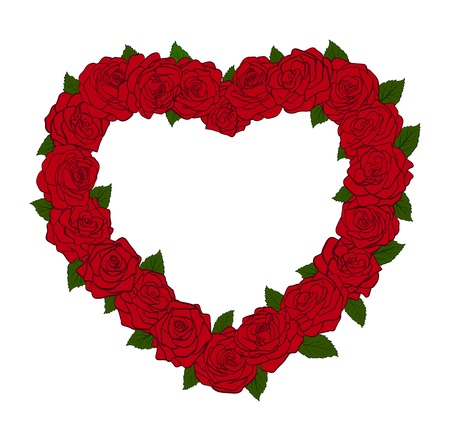 Het frame in de vorm van een silhouet van het hart, omzoomd met bloemen rozen en bladeren. Groot punt voor kaartontwerpen