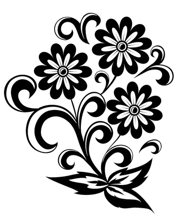 black and white abstract flower with leaves and swirls isolated on white background Illustration
