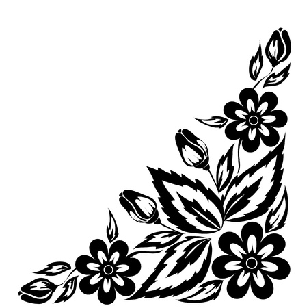 corner design: abstract black and white floral arrangement in the form of border angle  Isolated on white background