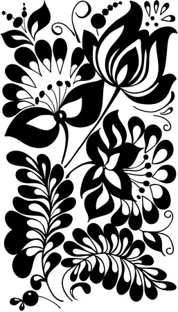 black and white flowers and leaves  Floral design element in retro style Vector