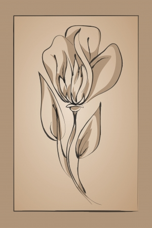 flowed: abstract flower on a beige background  Imitation ink drawing Illustration