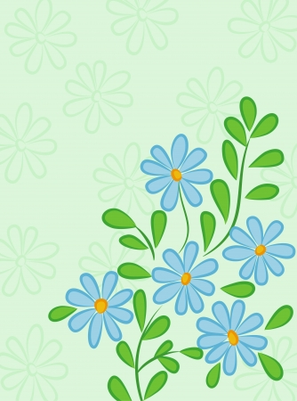 blue daisy: Green abstract background with blue daisies. retro Style