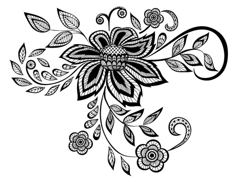 mehndi: beautiful black and white floral pattern design element