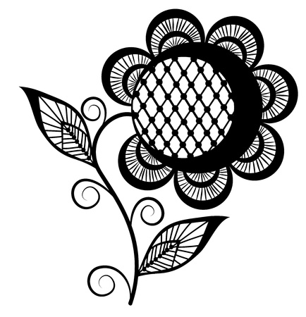 abstract sunflower logo, black and white. Isolated on white background Illustration