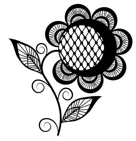 Logo de tournesol résumé, noir et blanc. Isolé sur fond blanc Banque d'images - 17667053