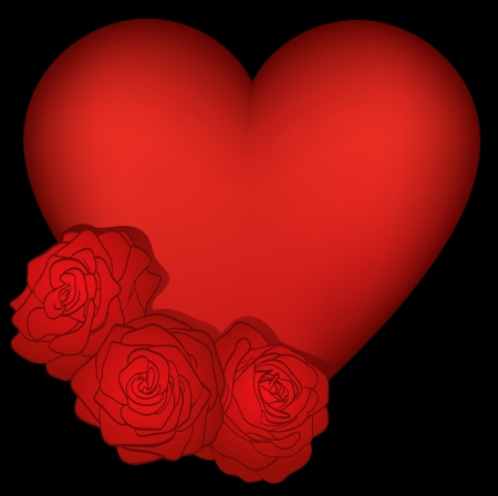 heart decorated with roses on a black background Vector