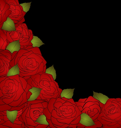 black background for a card decorated with roses and text Vector