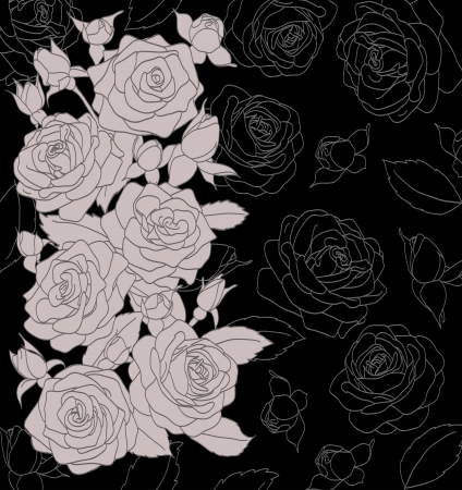 engraved image: gray bouquet of roses on a black background Illustration