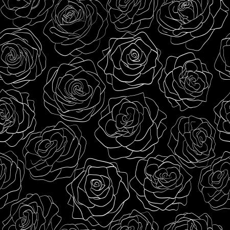 rosas negras: patrón transparente de rosas sobre un fondo negro