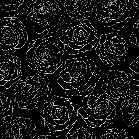 seamless pattern of roses on a black background Vector