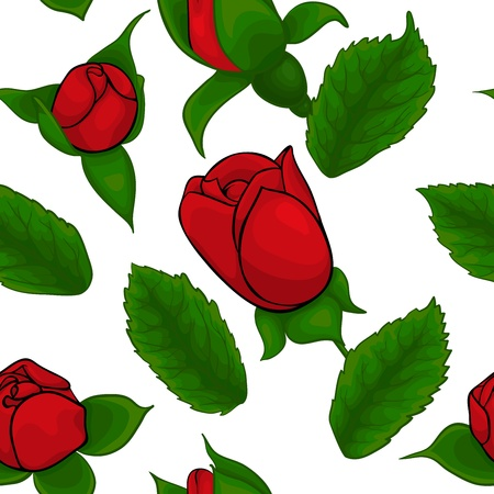seamless pattern of red roses on a white background Vector