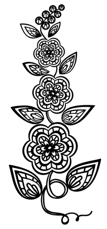 guipure: Beautiful floral element. Black-and-white flowers and leaves design element with imitation guipure embroidery.