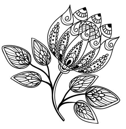 Beautiful black-and-white flower, hand drawing Ilustração