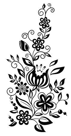 black-and-white flowers and leaves. Floral design element in retro style Stock Vector - 17833416